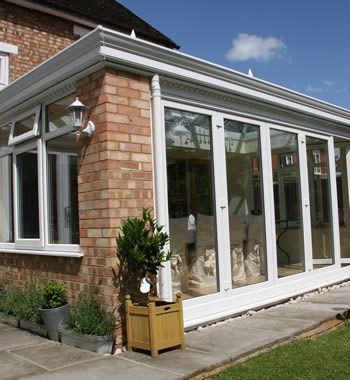 uPVC conservatory with synseal global roof