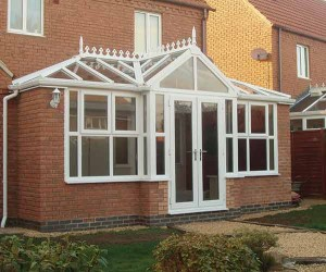 Gable fronted t-shape conservatory in white