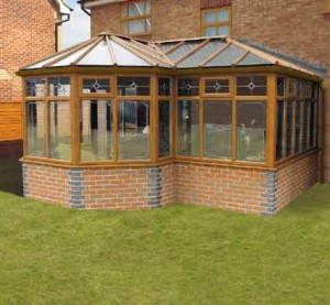 P-shape conservatory with polycarbonate roof